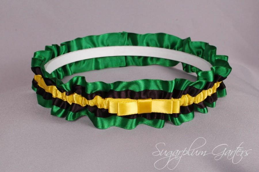 Mariage - Jamaican Flag Wedding Garter in Yellow, Green and Black Satin with Tailored Bow