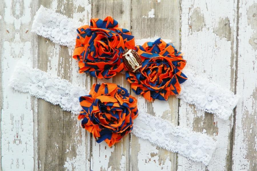 Boda - Gators Wedding Garters, Football Wedding Garters, University of FL Garter Set, Rhinestone Football, College Football Garters, Orange Blue