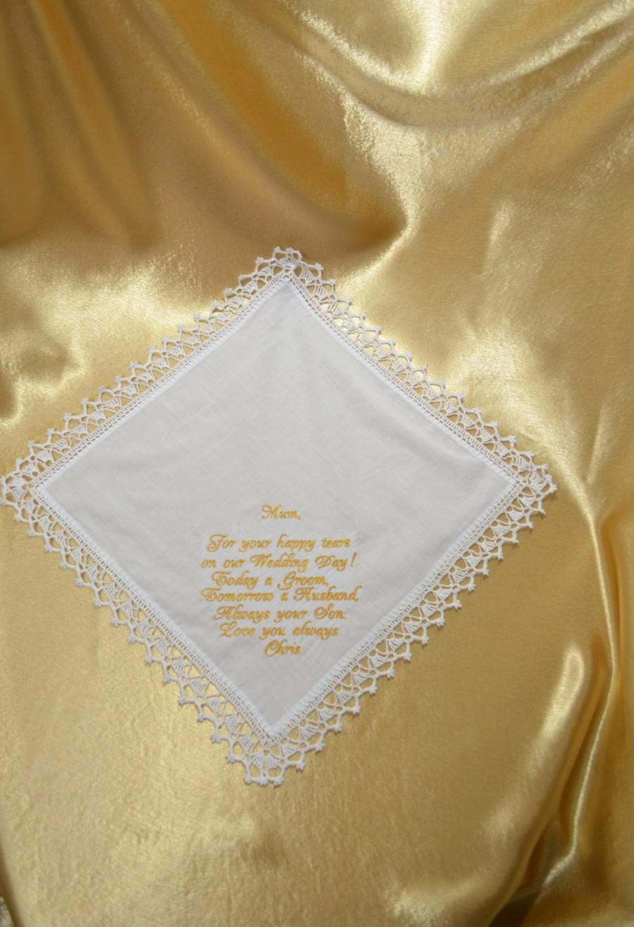 Wedding - Wedding Handkerchief Mother of the groom Gift for Mother from the Groom Personalized Embroidered wedding Custom Hanky hankie Wedding Gift - $18.00 USD