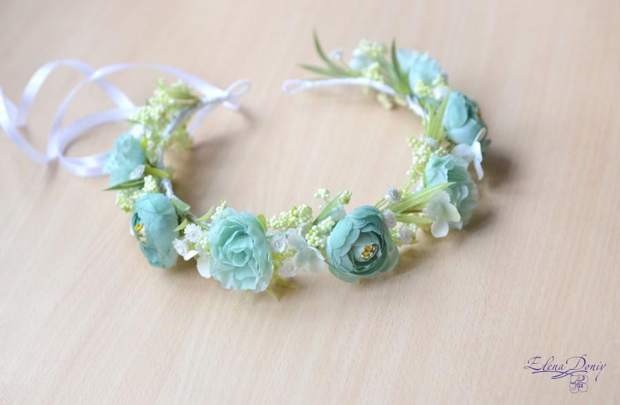 Mariage - Flower girl headband Mint floral crown bridal Mint head wreath flowers wedding accessories hair floral crown - $41.00 USD