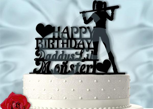 Mariage - Harley Birthday Cake Topper Daddy's Lil Monster