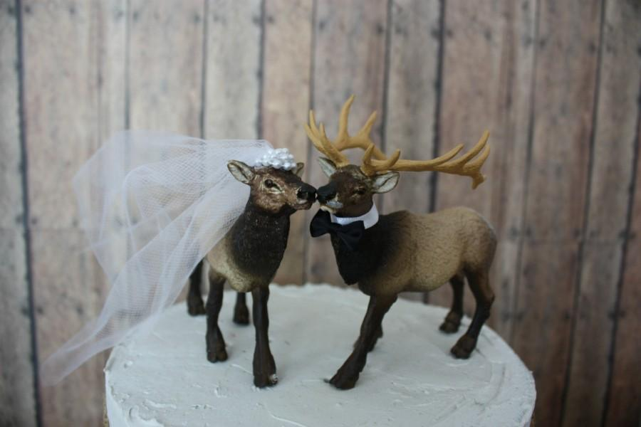 Wedding - Elk-Elk hunter-wedding cake topper-hunting groom-camo-hunting-rustic wedding-western wedding-elk lover-deer hunter-deer-moose