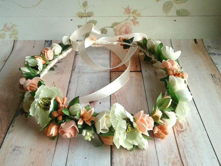 Свадьба - Peach and ivory headpiece wreath bridal headband flower crown flowergirl bridesmaids gift for her halo baby maternity photo shoot child boho