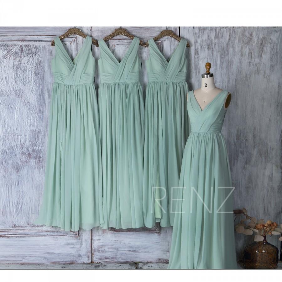 Wedding - 2017 Dusty Shale Chiffon Mix Match Bridesmaid Dress, V Neck Wedding Dress, A Line Prom Dress, Long Maxi Dress Full Length (J025)