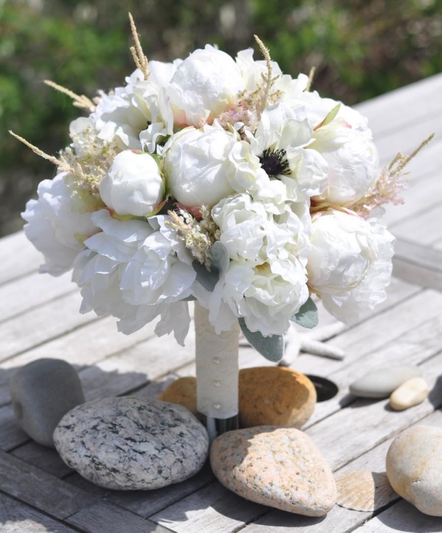 Wedding - Silk Wedding Bouquet, Wedding Bouquet, Keepsake Bouquet, Bridal Bouquet Ivory Peony and Pink Astilbe wedding bouquet made of silk flowers..