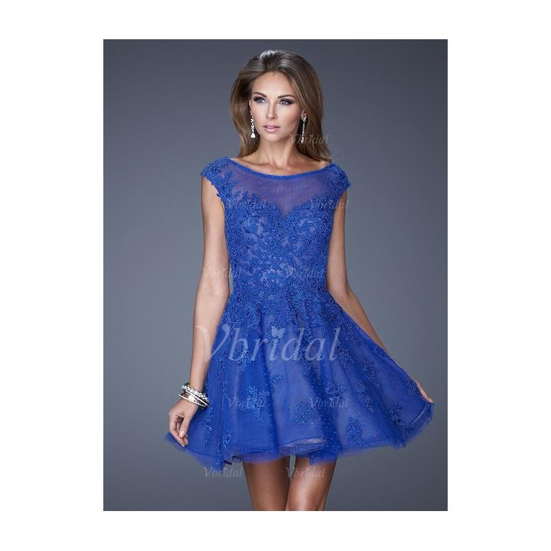 Mariage - A-Line/Princess Scoop Neck Short/Mini Tulle Cocktail Dress With Appliques Lace - Beautiful Special Occasion Dress Store