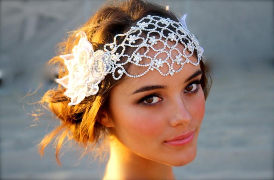 Hochzeit - Vintage Inspired Crystal Bridal Head Cap- Juliet