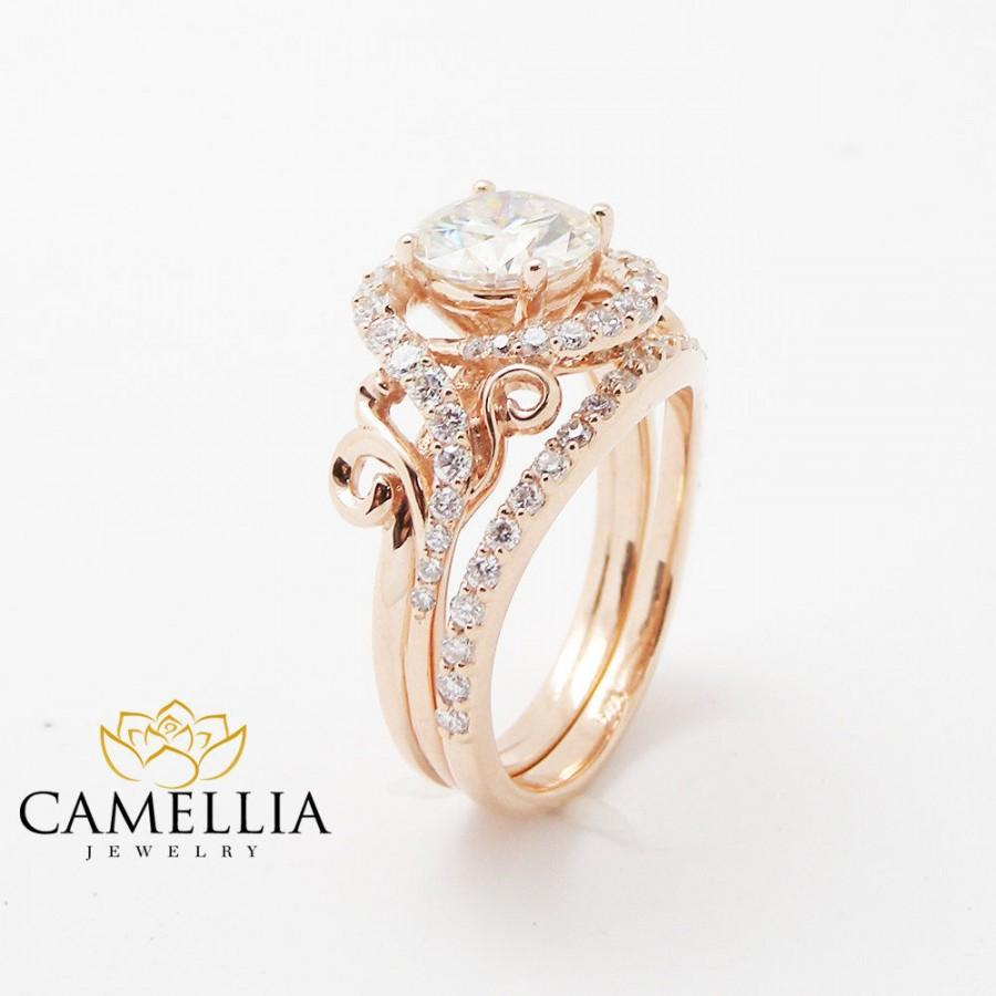 ar il mdad set ring gold engagement rings tone floral fullxfull products camellia two unique moissanite