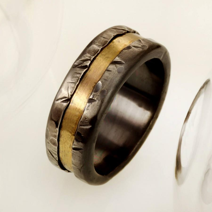 It is an image of Mens Gold And Silver Wedding Band, Mens Engagement Ring, Rose Gold