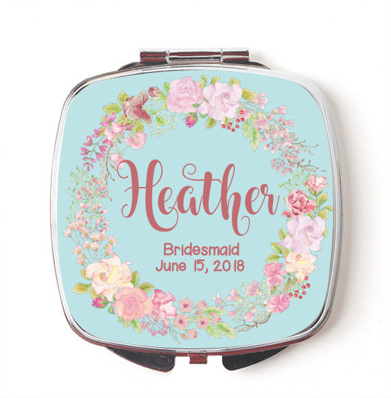 Mariage - Custom Bridesmaids Gifts - Personalized Compact Mirror - Floral Wreath Wedding - Personalized Bridesmaids Gifts
