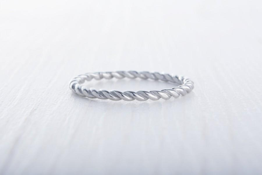 2mm Wide Twist Weave Ring Available In Titanium And White Gold Filled