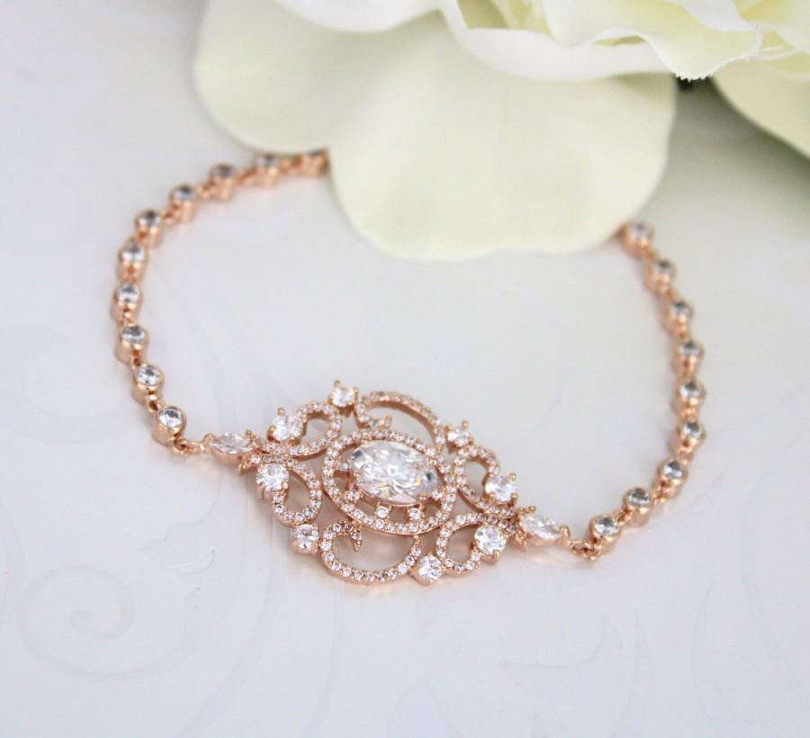 Wedding - Rose Gold Bridal bracelet, Crystal Wedding bracelet, Bridal jewelry, Wedding accessories, Cuff bracelet, Vintage style bracelet, Art Deco