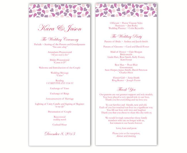 Hochzeit - Wedding Program Template DIY Editable Word File Instant Download Program Lavender Wedding Program Purple Heart Program Printable Program - $8.00 USD