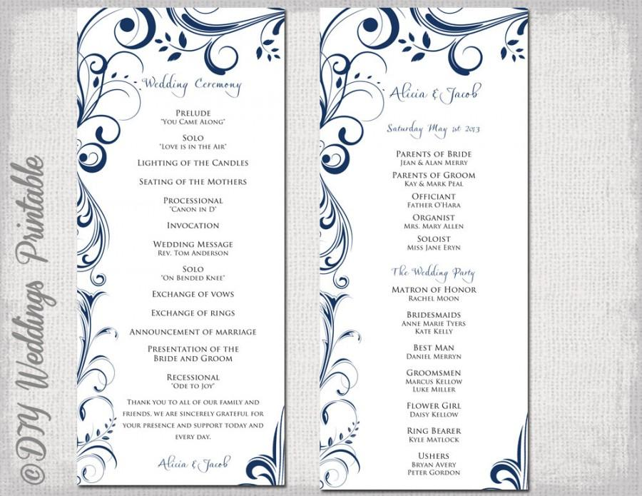 Wedding program template navy blue instant download for Wedding ceremony order of service template free