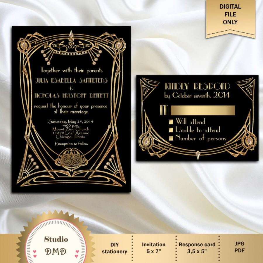 Great Gatsby Style Art Deco Wedding Invitation Suite With RSVP Card