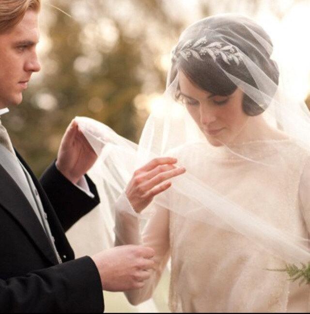 "Wedding - 1920s Downton Abbey Lady Mary Inspired Crystal Tiara Headpiece-Art Deco Headband-Woodland Boho Wedding Crystal Flower Leaf Halo Crown-""MARY"""