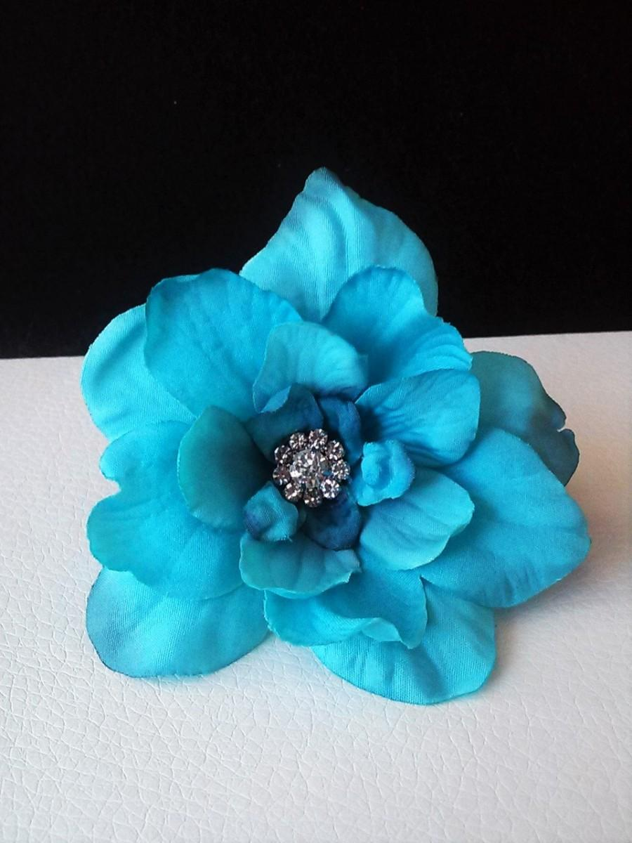 Свадьба - Ready to Ship Aqua Hair Flowers-Teal Hair Flowers- Wedding Hair Flowers-Prom Hair Flowers-Hair Accessories