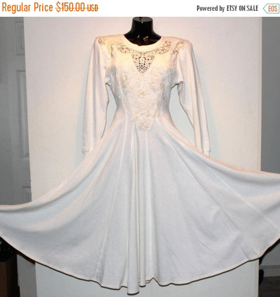 Spring 1980 S Rare Karen Alexander Retro Casual Country Western Cotton Sweatshirt And Lace White Wedding Dress Gown Size 4 Must See