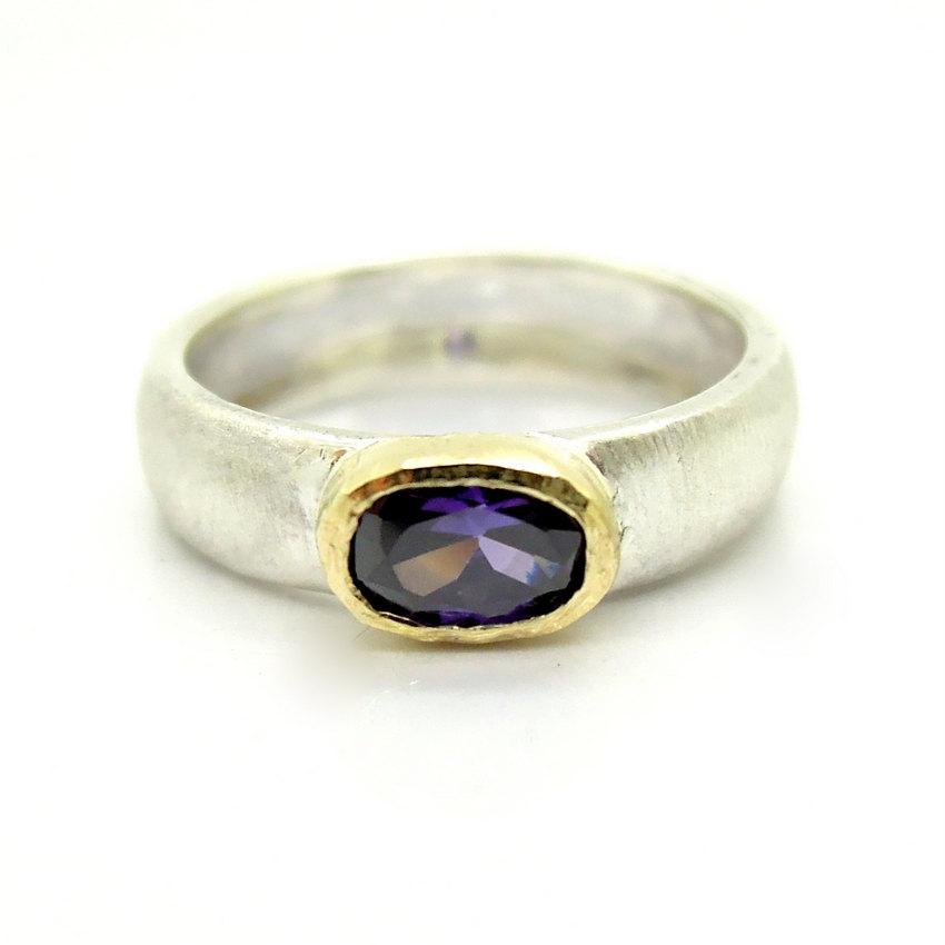 Mariage - Amethyst ring set in gold and matte silver band