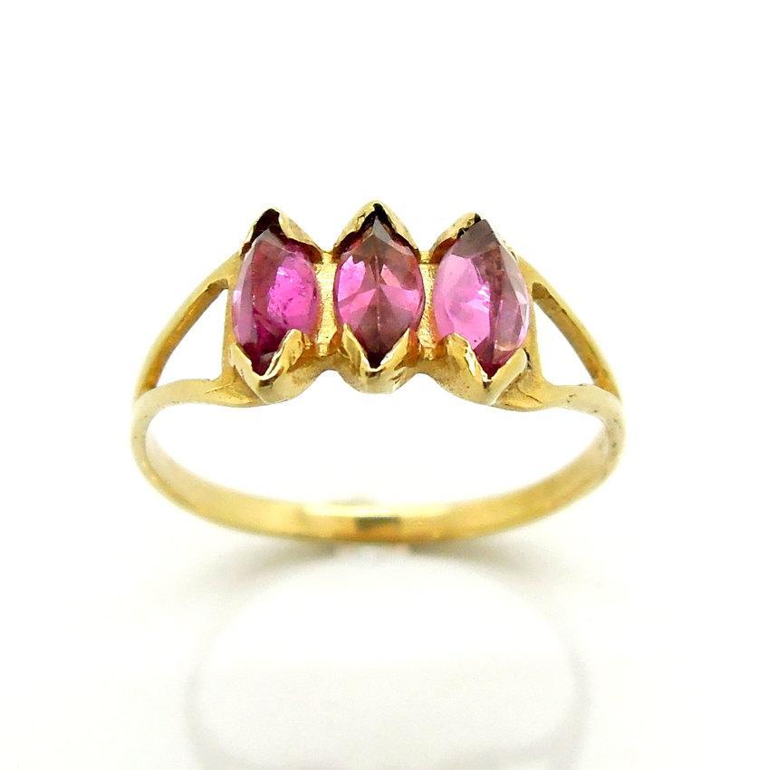 زفاف - Pink tourmaline engagement ring set in gold
