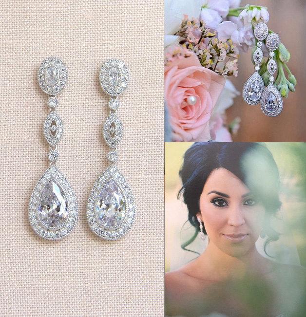 زفاف - Crystal Bridal Earrings, Rose Gold Wedding Earrings, Long Dangle, Yellow Gold, Swarovski, Bridal Jewelry, Christine Vintage Earrings
