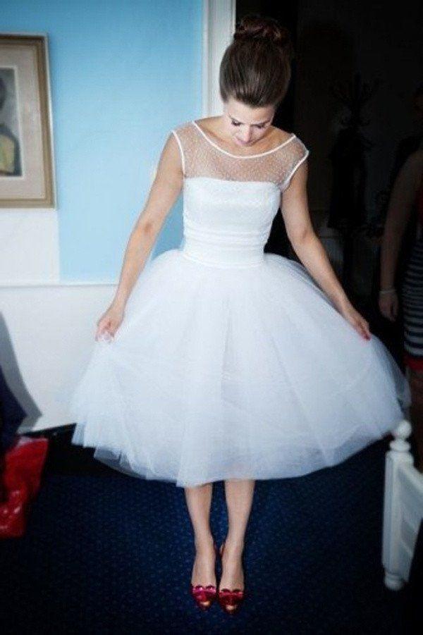 Wedding - 50s Bridal Gown, Polka Dot Wedding Dress, Tea Length Wedding Dress,Vintage Wedding Dress,WS040