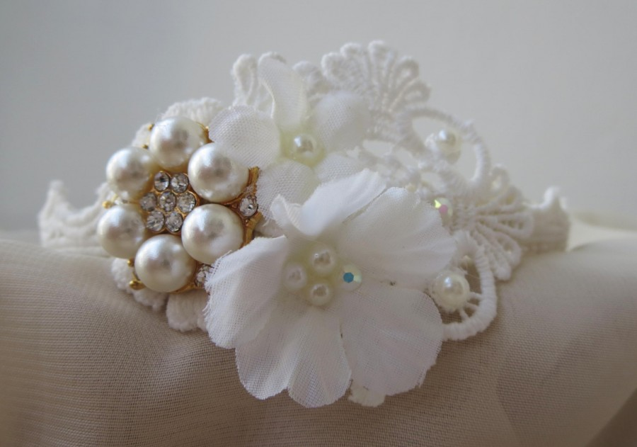 Lace wedding hedband alice band tiara with white flowers acrylic lace wedding hedband alice band tiara with white flowers acrylic swarovski and pearls and a golden button boho vintage mightylinksfo
