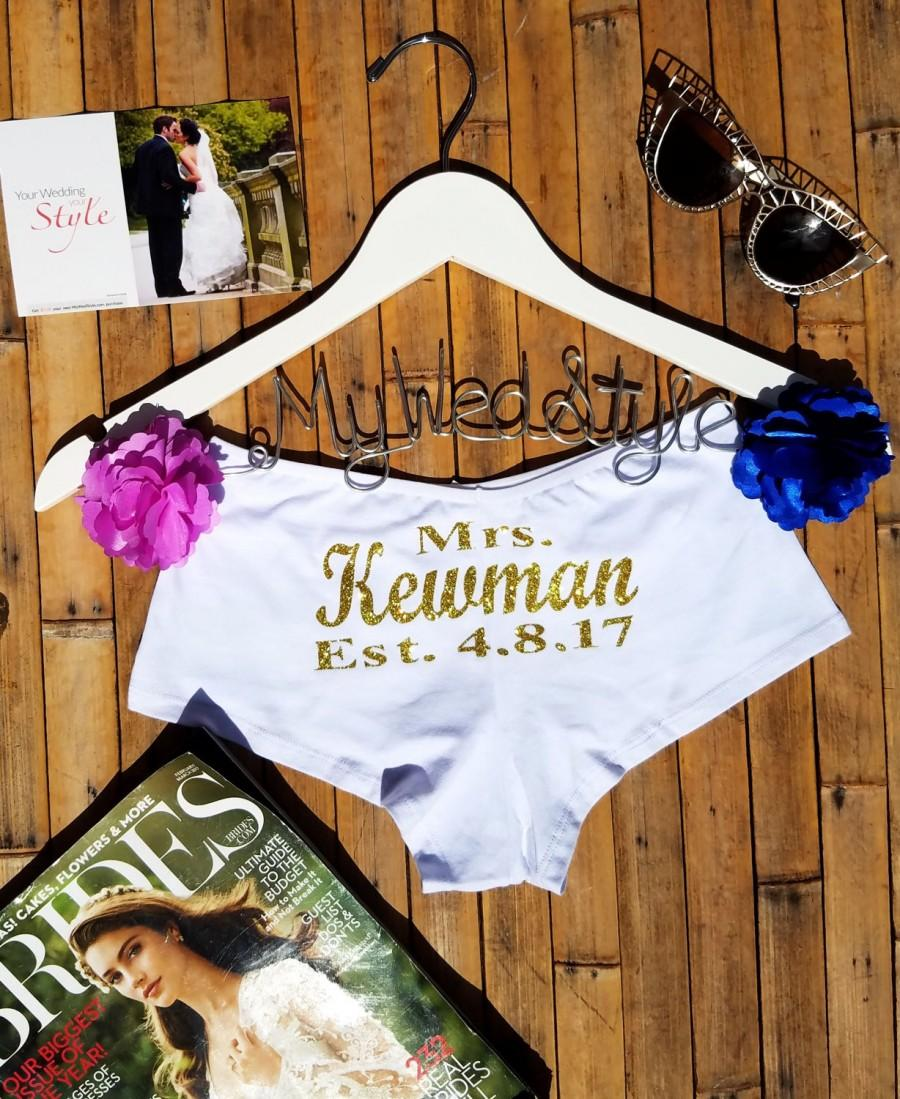 Wedding - Personalized Lingerie, Personalized Bride Boyshorts, Honeymoon Lingerie, Wedding Lingerie, Bridal Underwear, Bachelorette Party Gift