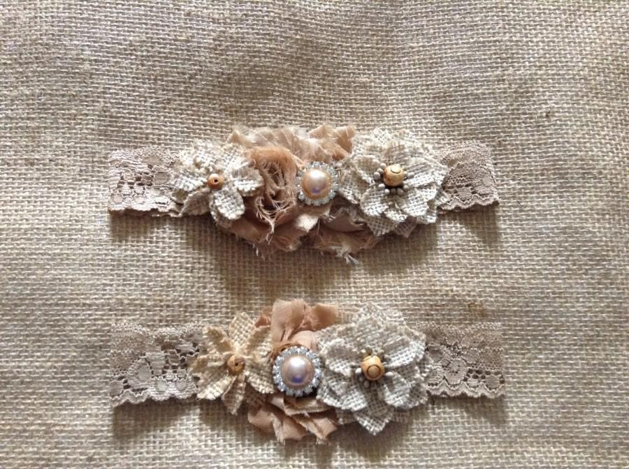 Boda - Vintage Rustic Couture Garter Set- Bridal Garter Set,wedding,fall wedding,country wedding,burlap wedding