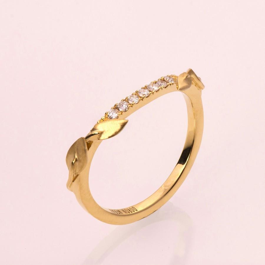 Свадьба - Leaves Diamonds Ring No. 3B - 14K Gold and Diamonds engagement ring, engagement ring, leaf ring, eternity ring, eternity leaf ring