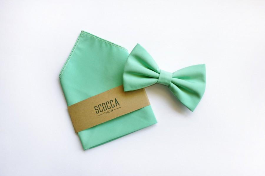 Mariage - Bow Tie and Pocket square Men groom groomsmen,green mint,spring summer,Tie Papillon Handkerchief gift for witnesses,accessories personalized
