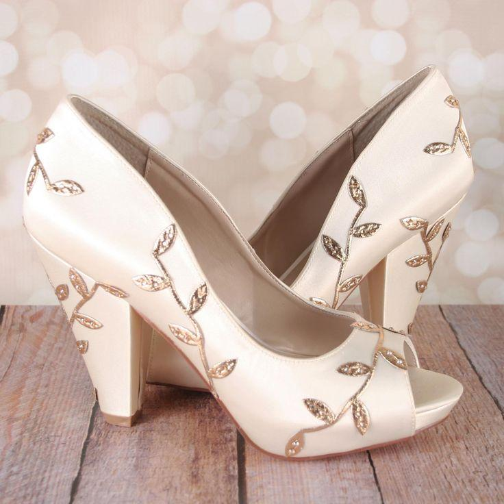 Nozze - Ivory Wedding Shoes With Gold Metallic Leaf Design