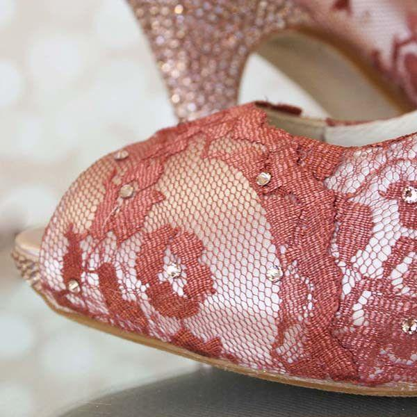 Boda - Rose Gold Lace Wedding Shoes With Crystal Covered Peep Toe And Heel