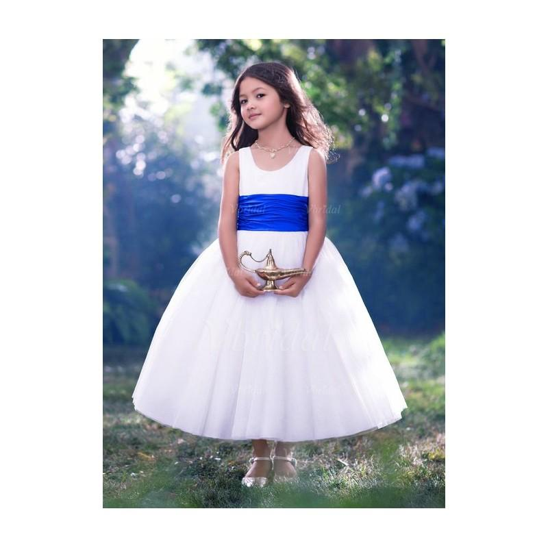 Mariage - A-Line/Princess Scoop Neck Tea-Length Tulle Flower Girl Dress With Ruffle Sash Bow - Beautiful Special Occasion Dress Store