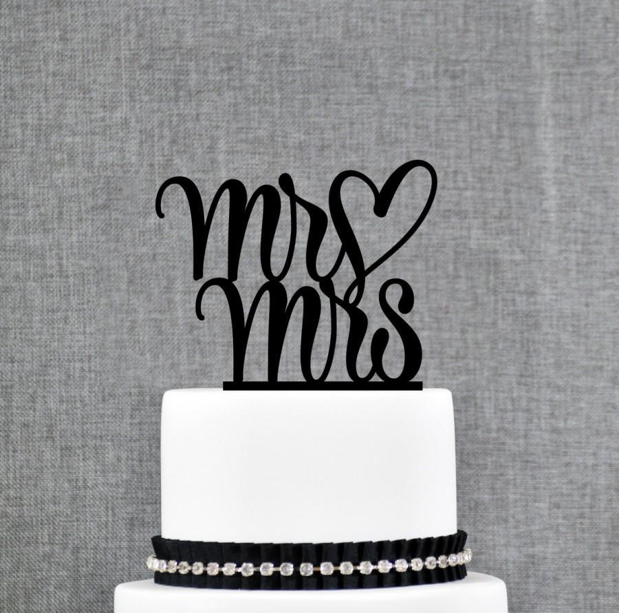 زفاف - Mr and Mrs Wedding Cake Topper with Heart, Traditional and Elegant Wedding Cake Toppers in your Choice of Color (T207)