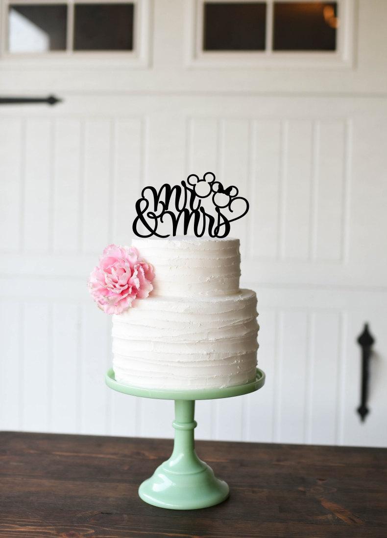 Свадьба - Mickey Wedding Cake Topper - Mr and Mrs Wedding Cake Topper