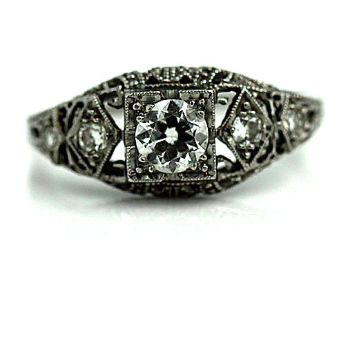 زفاف - Antique Engagement Ring .51ctw 1930s Art Deco Ring Platinum Engagement Ring European Cut Diamond Antique Engagement Art Deco Wedding Ring!