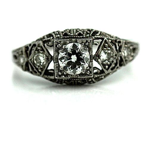 Hochzeit - Antique Engagement Ring .51ctw 1930s Art Deco Ring Platinum Engagement Ring European Cut Diamond Antique Engagement Art Deco Wedding Ring!