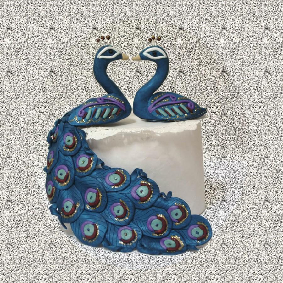 زفاف - Peacock Peahen in Love - Custom Cake Topper