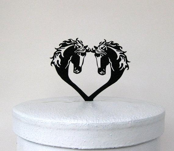 Свадьба - Wedding Cake Topper -Two Horses and Heart