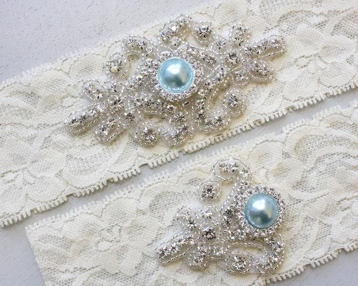 Mariage - Best Seller - RACHEL II - Blue Pearl Wedding Garter Set, Vintage Stretch Lace Garter, Rhinestone Bridal Garters, Something Blue