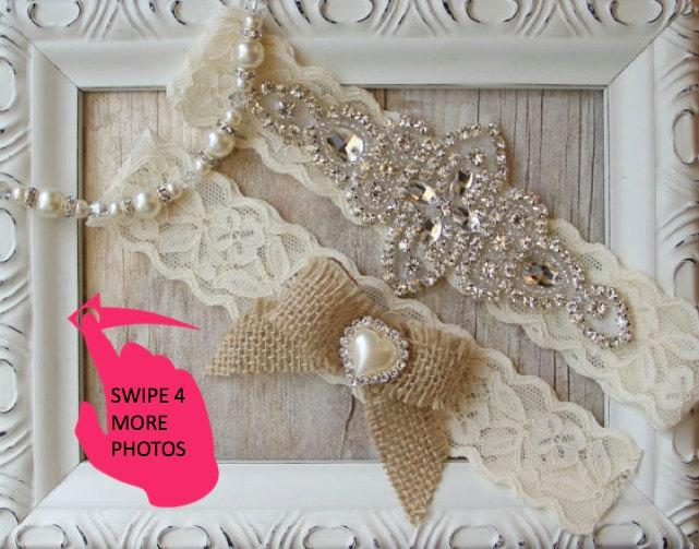 Wedding - Rustic Wedding, Garter Set - Burlap Wedding Garter Set, Rustic Garter Set, Lace Bridal Garter, Burlap Garter Set, Rustic Wedding