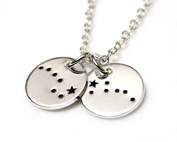 Hochzeit - Two Disc Big Dipper Little Dipper Sterling Silver, Hand Stamped Constellation Necklace, Ursa Major, Zodiac Jewelry, Birthday Gift