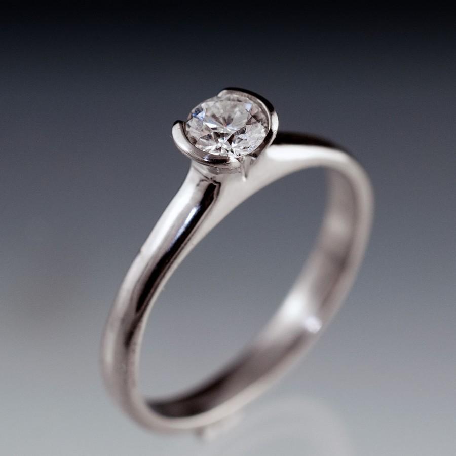 Mariage - Tulip Diamond Engagement Ring, Half Bezel 4mm Round Quarter Carat Diamond Ring in Palladium, Yellow Gold, White Gold or Platinum