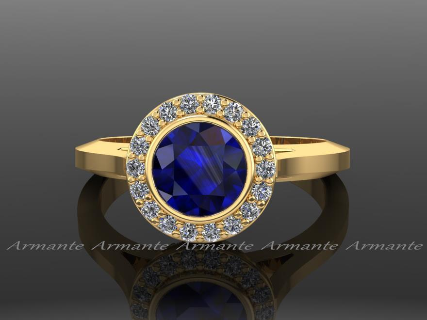 Mariage - Vintage Engagement Ring / Yellow Gold Vintage Style / Natural Blue Sapphire And Diamond Engagement Ring / 14k Yellow Gold Re0004ybs
