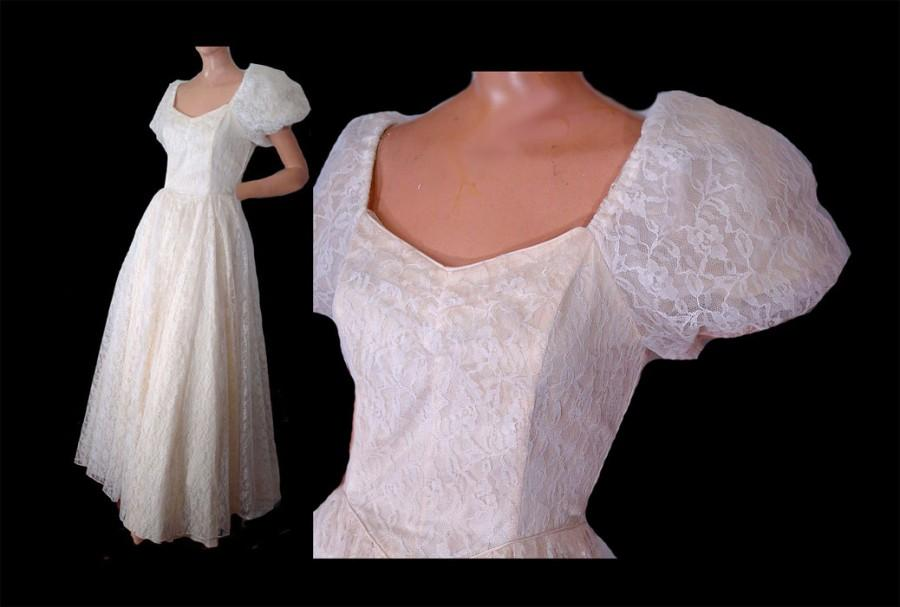80s Prom Dress White Lace Formal Gown Wedding Dress Puffy Sleeves