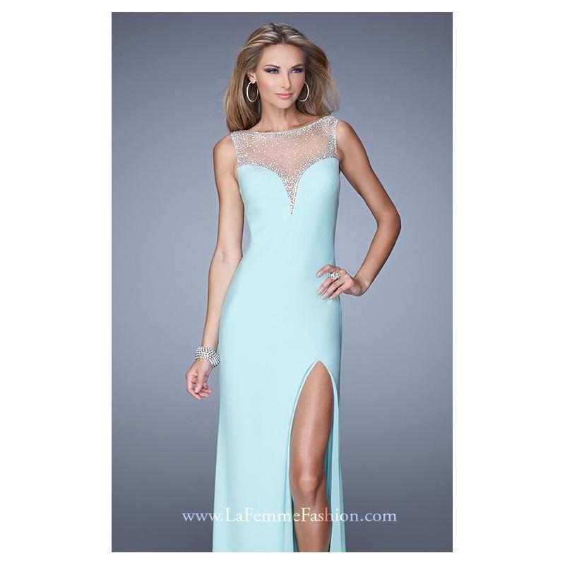 Mariage - Beaded Slit Gown by La Femme 21020 - Bonny Evening Dresses Online