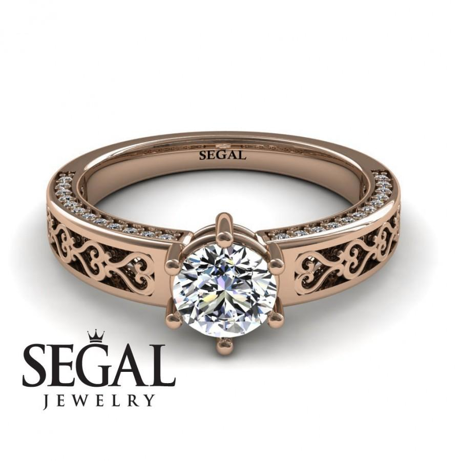 Mariage - Vintage Engagement Ring Rose Gold Moissanite Engagement Ring Art Deco Ring Vintage Bridal Ring Vintage Engagement Ring - Caroline