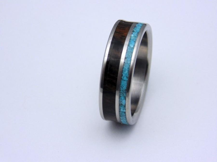 Свадьба - Titanium and wood ring Ziricote waterproof wood with Turquoise inlay  Handmade, wedding band, special gift