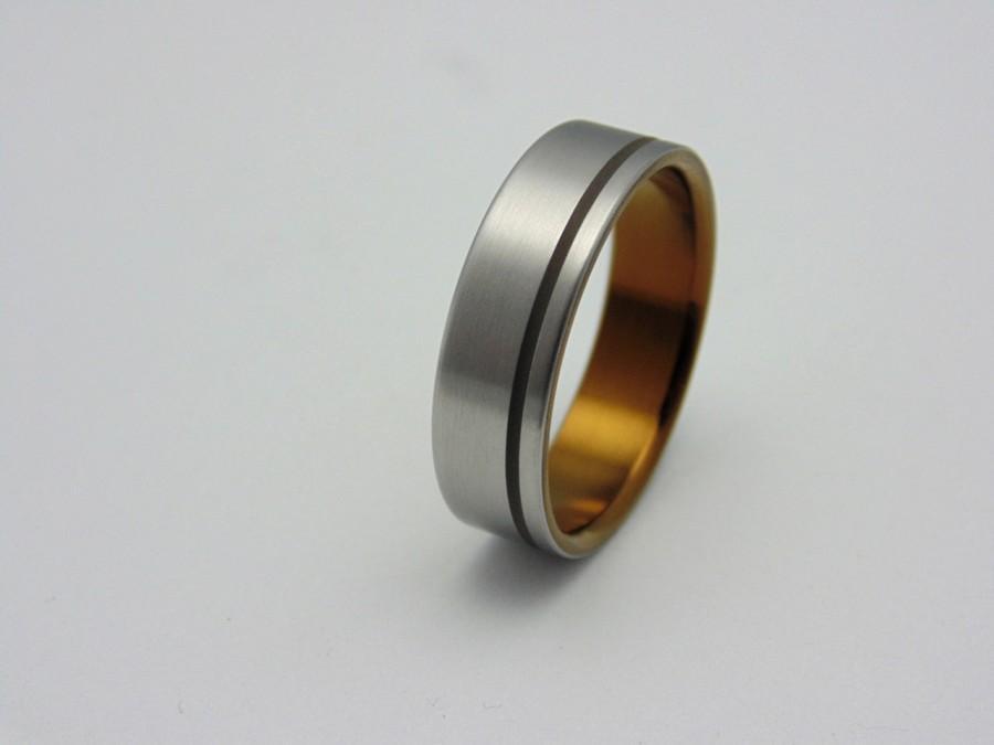 Mariage - Titanium wedding band, Ancient Bronze anodized titanium ring, Handmade titanium wedding band